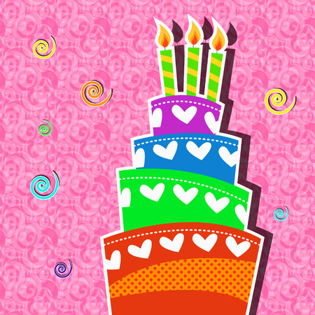 Playful birthday cake with candle card