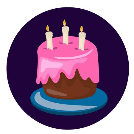 Birthday cake vector. Sweet cream pie with candles on a plate Ilustração