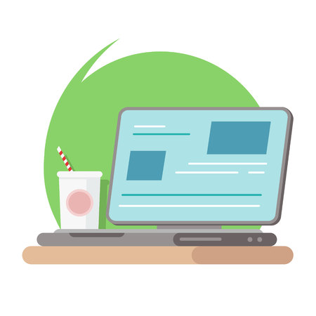 Work smart with technology on desktop business lifestyle in flat graphic design