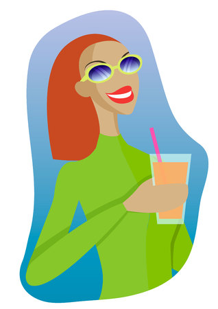 Vector sexy girl in a ski suit with a cocktail in hand. Ilustração