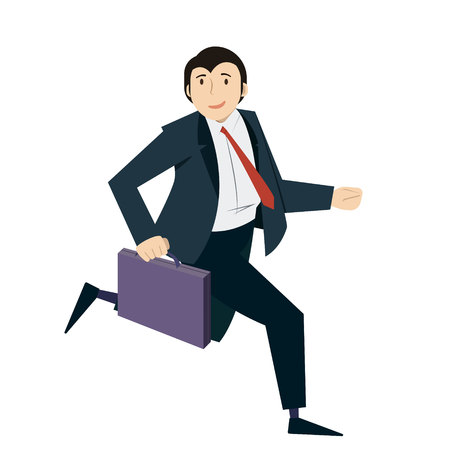 Happy businessman running with case in his hand. Concept of successful business. Vector, illustration, flat