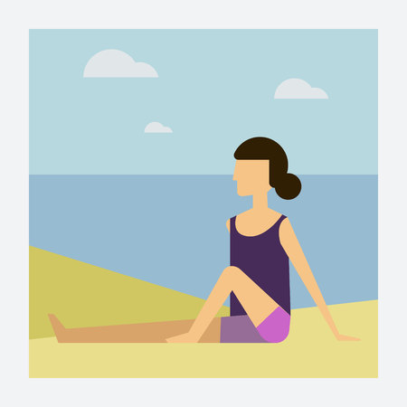 Bikini Woman lying on the beach vector with space for text