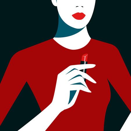 Girl paints lips with lipstick cosmetics beauty perfumes pop art retro vintage