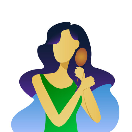 beautiful young girl brushing her hair, vector illustration