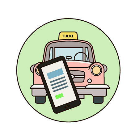Taxi concept. Man call a taxi by smartphone. Vector illustration.