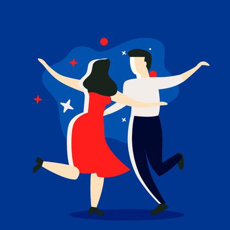 Couple dancing. Dance party concept. Cartoon vector illustration