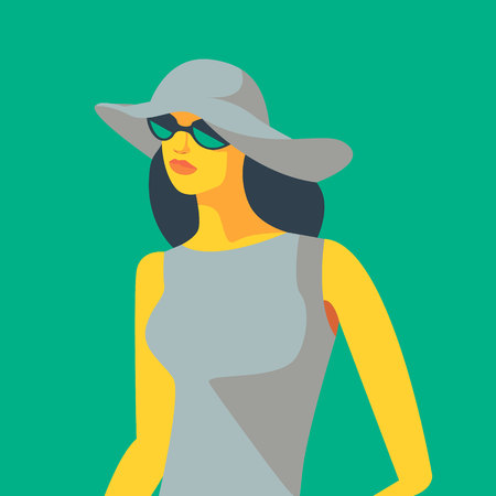 Woman in dress, white hat and sunglasses. Vector illustration Ilustração
