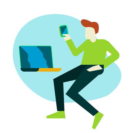 cute boy holding a laptop and smartphone Ilustração
