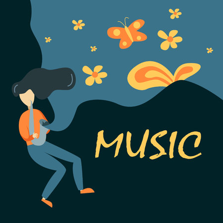 Saxophone Player Vector Illustration In Primitive Cartoon Childish Style Isolated On Floral Background Imagens - 103343254