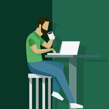 Vector illustration in flat style with business man character - guy sitting at the desk with laptop - start up, freelance and outsource work concept