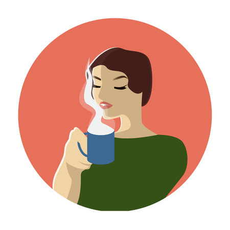 Fashion woman witn cup of coffee or tea. Pop art illustration