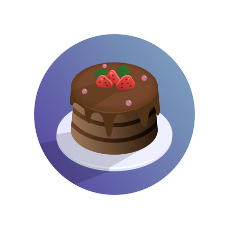 Vector chocolate cake with strawberries on a plate Illustration
