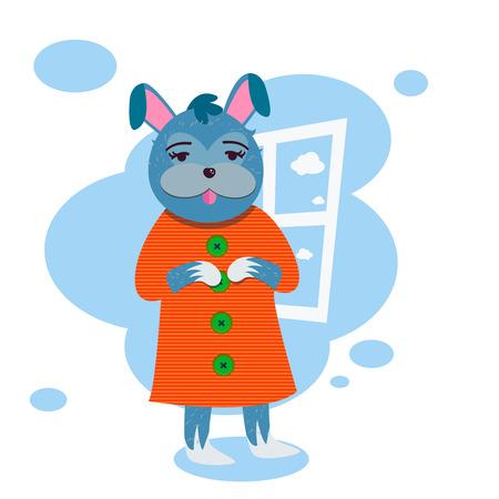 Vector funny rabbit girl in dress below window
