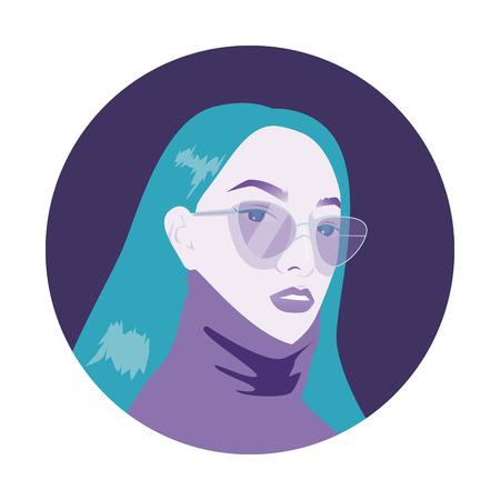Beautiful Stylish Girl With Long Hair Wearing Sunglasses Ilustração