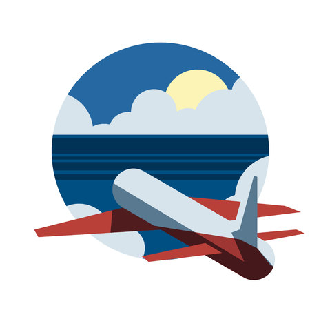 Around the world travelling by plane, airplane trip in various country, vector illustration concept.