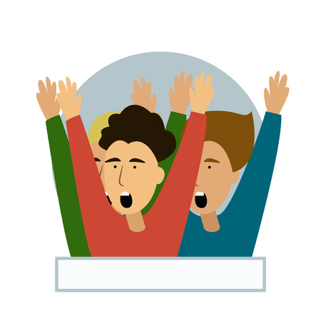 Cheering crowd of football fans isolated. Soccer fans at stadium, crowd of celebrating people. Clipart or sticker for goal post, web banner, infographics, hero images. Flat vector illustration. Ilustração