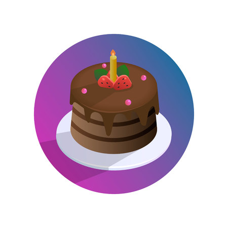 Vector chocolate birthday cake with strawberries and candle on a plate Imagens - 104590697