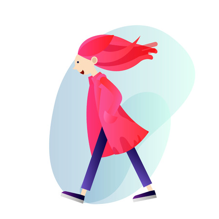 Creative girl in a pink coat with pink hair walking alone, art student, vector concept illustration Illustration