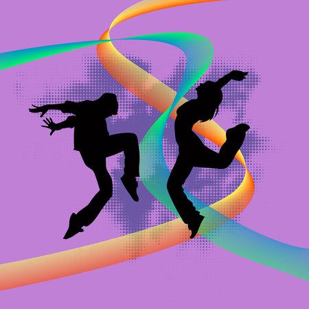 Set of dancers jumoing and dancing hip hop silhouette 일러스트