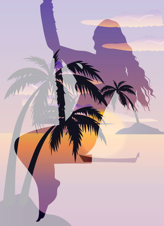 Double exposure beautiful girl on a swing and tropical beach with palms, ocean and island, vector poster Illustration