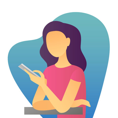 The vector illustration of young cartoon girl writing message on her mobile phone for ui, web games, tablets. Business or online chatting concept Ilustração