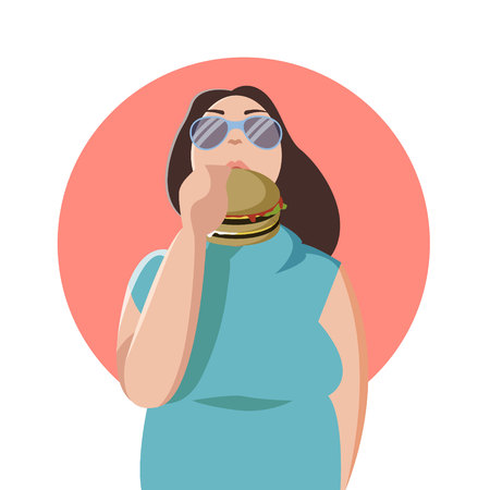 Happy fat woman eating a big tasty hamburger. Flat concept illustration of bad habits and people eating burgers and junk food isolated, concept, ads Illustration