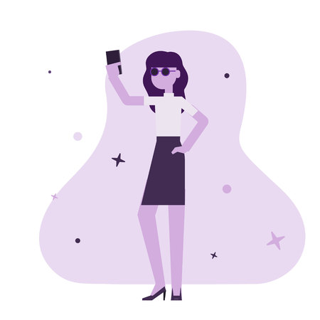 Vector illustration of a woman holding smartphone and making selfie, modern flat style Imagens - 114861462