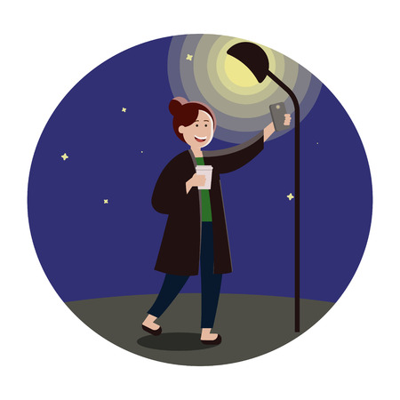 Fashionable hipster girl on the dark street under the light holding cup of hot coffee phone, making selfies for social networks, personal photo album. Illustration in cartoon style.