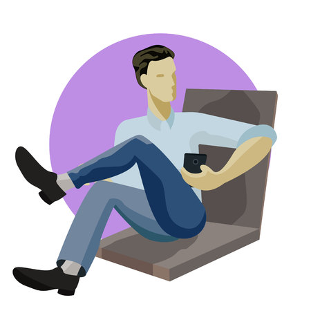 Man sitting, playing with smartphone, texting, messaging, working, reading, using mobile phone, cartoon vector illustration. Full length portrait of young man sitting and using mobile phone Imagens - 114783650