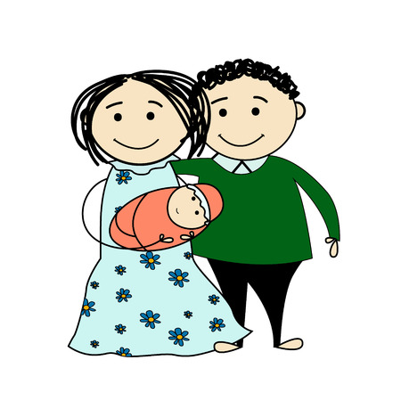 Funny sketch of a happy family with little baby Illustration