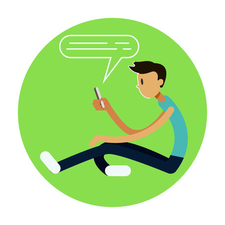 Teen Boy Vector. Young Teen Boy Smiling. Teens Chatting On Messenger or Texting SMS. Flat Cartoon Illustration