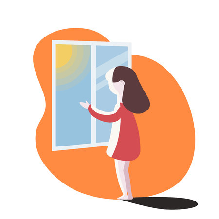 girl looking out the window. vector illustration.