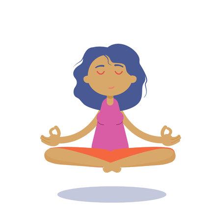 Meditation woman. Vector meditation silhouette. Meditation woman character icon.Beautiful young character cartoon young woman practicing yoga and meditating Imagens - 112341913