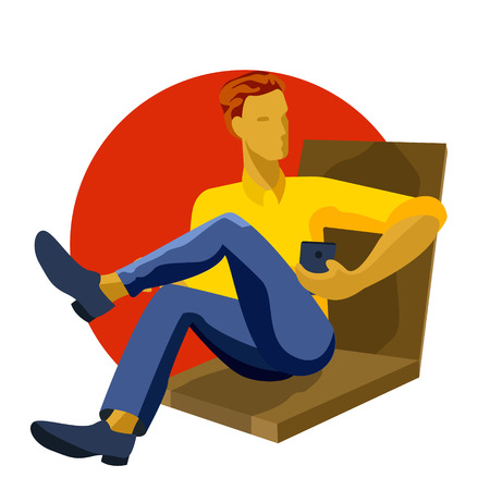 Man sitting, playing with smartphone, texting, messaging, working, reading, using mobile phone, cartoon vector illustration. Full length portrait of young man sitting and using mobile phone Imagens - 112341915