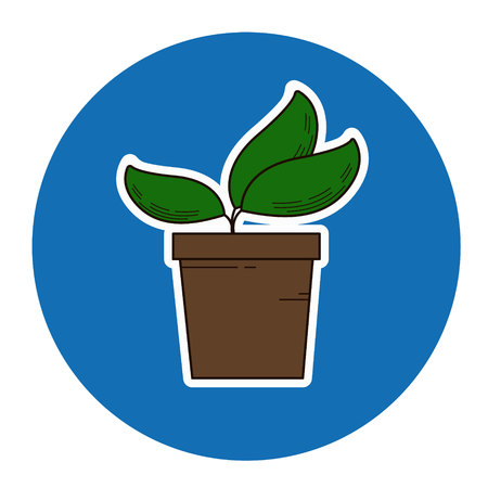 Vector sprout icon sticker style, plant in pot isolated