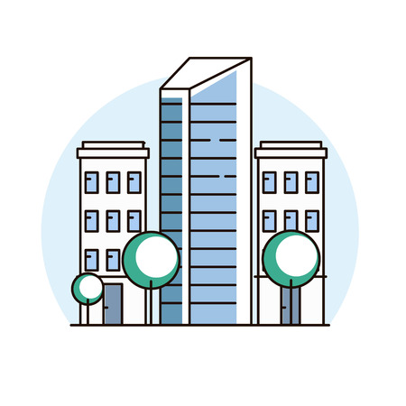 City downtown landscape. Real estate and construction business concept with houses. Vector illustration. Imagens - 112082229