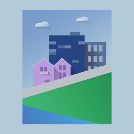 Beautiful cityscape or town paper art style vector illustration