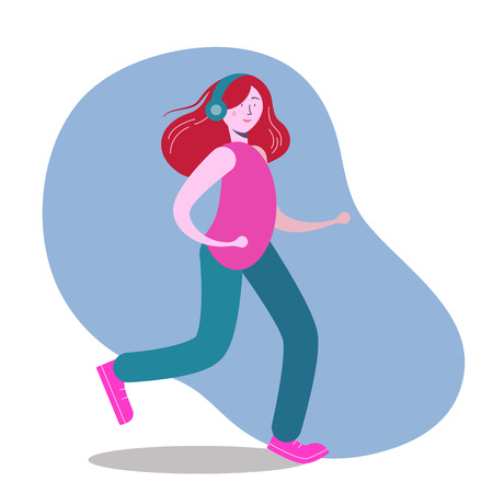 Woman running and listening music scribble, vector flat illustration