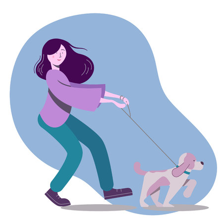 Vector flat illustration with young woman walking the dog Illustration
