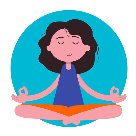Meditation woman. Vector meditation silhouette. Meditation woman character icon.Beautiful young character cartoon young woman practicing yoga and meditating