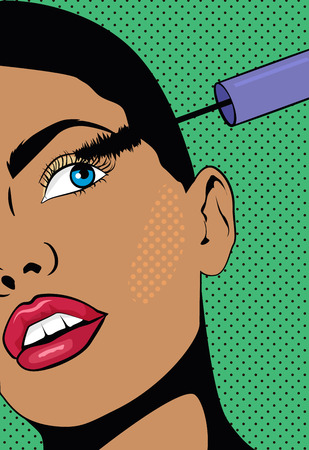 A Girl with a short hair doing make up. Woman holds a hand with mascara near the eyes. Illustration with a girl in pop art style. Imagens - 107320327