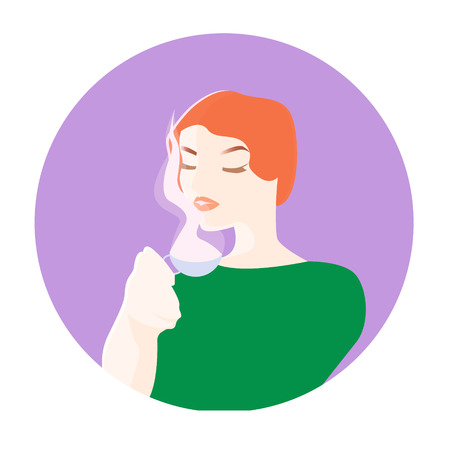 Fashion woman witn cup of coffee or tea. Pop art illustration
