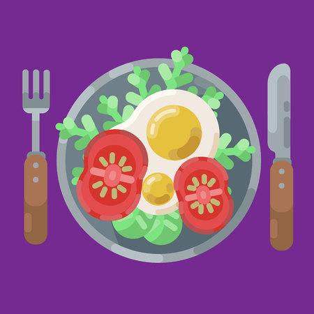 Un copieux petit-déjeuner composé d'œufs au plat et de légumes frais. Illustration vectorielle. Manger sur une assiette est une vue de dessus avec fourchette et couteau. Petit déjeuner servi.
