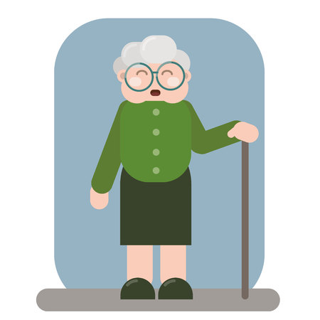 Happy old woman in old clothes with cane and glasses Ilustração