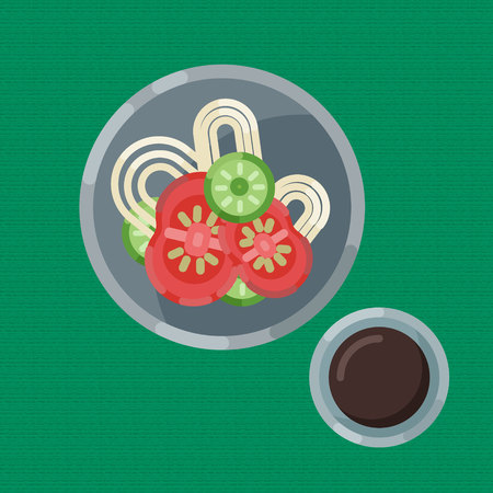 A hearty breakfast of noodle and fresh vegetables. cup of hot coffee or tea Vector illustration. Eating on a plate is a top view. Served breakfast.