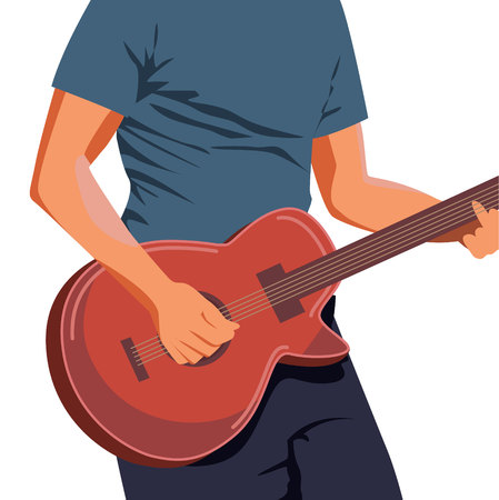 Vector illustration of hands playing light brown acoustic guitar. Close up, blue-green background, horizontal format. You can find the whole arms and guitar under the clipping mask in the eps file. Imagens - 109811599