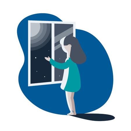 fille regardant par la fenêtre. illustration vectorielle.