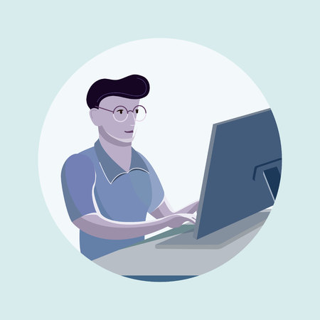 Young man sitting in the office at work desk and working with laptop. Vector illustration of student working, programing or writing. People learning and studying with copy space
