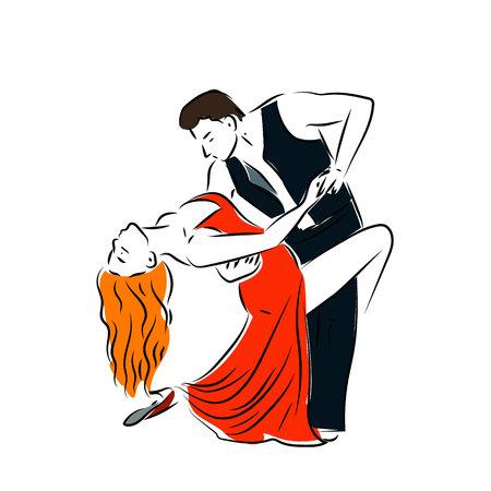 Man and woman dancing couple tango retro line art. Man and woman dancing couple tango retro line art. Ilustração