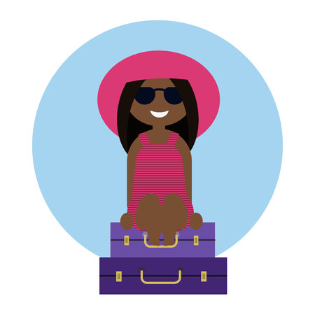 Cute tanned girl sitting on the suitcases, travel concept